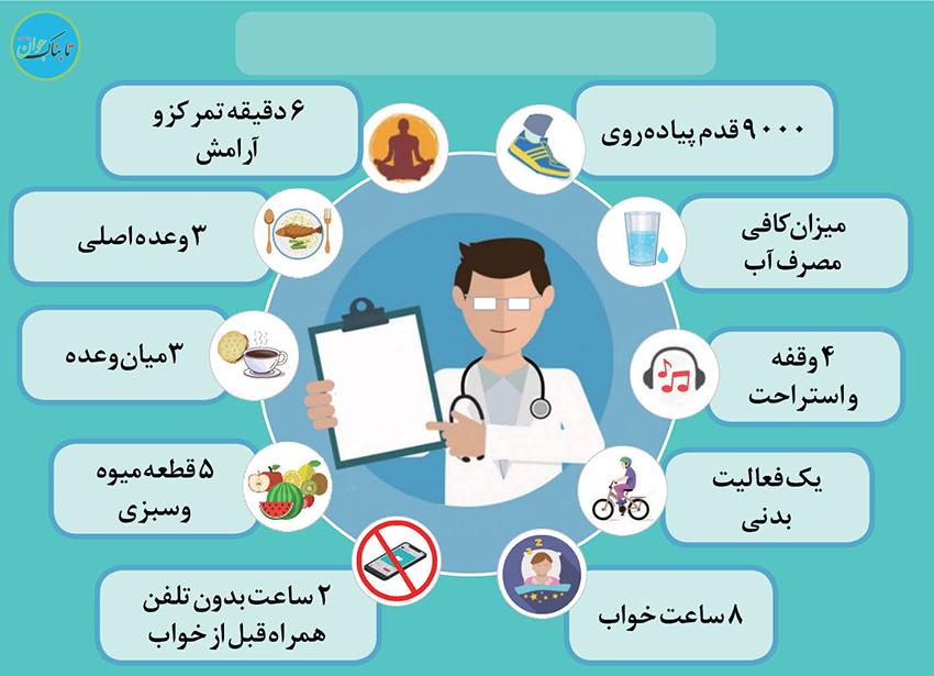 اطلاعنگاشت؛ده راهکار برای سلامتی بدن