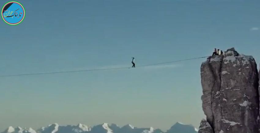 فیلم؛ بر روی طناب ۲۷۵۰ متری را بروید
