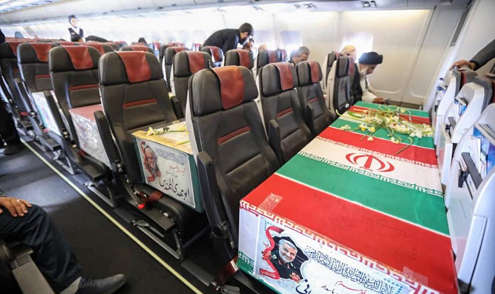 فیلم دیده نشده از هواپیمای حامل پیکرشهیدسلیمانی