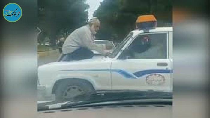 بسته خبری : نشستن پیرمرد دستفروش روی ماشین سدمعبر!