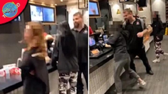 بسته خبری : لحظه درگیری کارمند مک دونالد با مشتری زن
