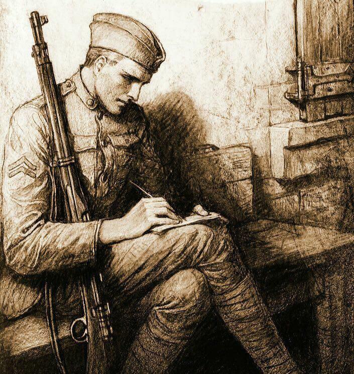 نامه نوشتن سرباز جنگ جهانی