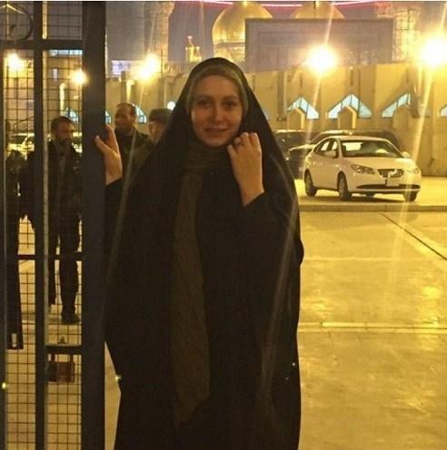 فریبا نادری با چادر در کربلا