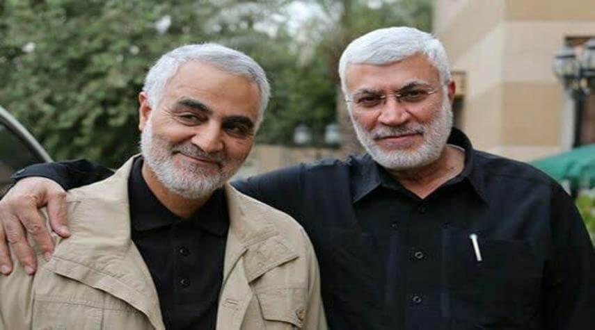شهید سلیمانی در کنار شهید المهندس