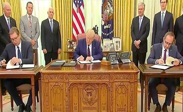 جلسه ترامپ و رئیس جمهور صربستان